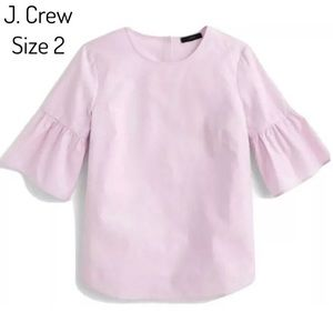 J. Crew Pink Button Back Bell-Sleeve Top Size 2